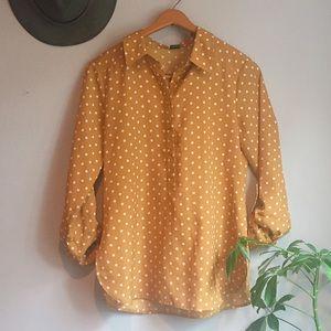 Tops - Ann Taylor Collared, Polka Dotted Shirt